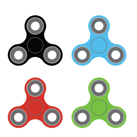 Spinners of different colors in the style of flat. Vector illustration. Illustration
