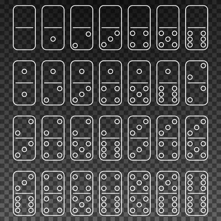Set voor het spelen van domino's in de stijl van de omtrek. Twintigentwintig domino's. Vector illustratie. Stock Illustratie