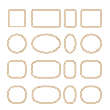 Round oval rectangular and square frames made of rope. Vector illustration.