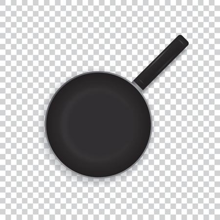 透明な背景に現実的なフライパン。黒いフライパン調理用ハンドル。上からの眺め。ベクトルの図。  イラスト・ベクター素材