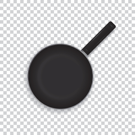Realistic frying pan on a transparent background. Black frying pan with a handle for cooking. View from above. Vector illustration. Ilustracja