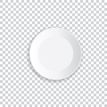 透明な背景に影で現実的な白いプレート。ベクトルの図。