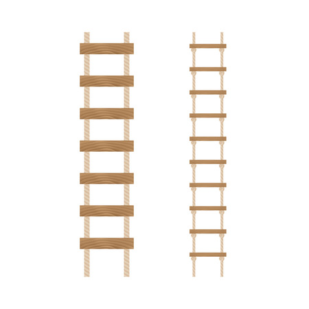 rungs: Rope ladders on a white background.