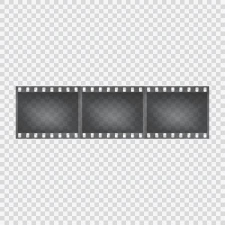 背景が透明のフィルム テープ。カメラの陰性。ベクトルの図。
