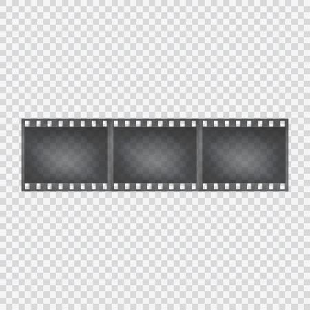 Film tape on a transparent background. Negative of the camera. Vector illustration.