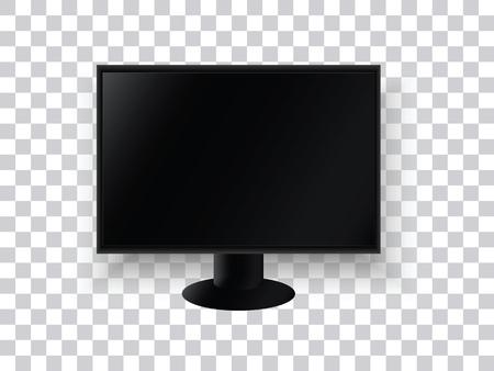 透明な背景に現実的なテレビ モニター。テレビのパネル。家電。ベクトルの図。  イラスト・ベクター素材