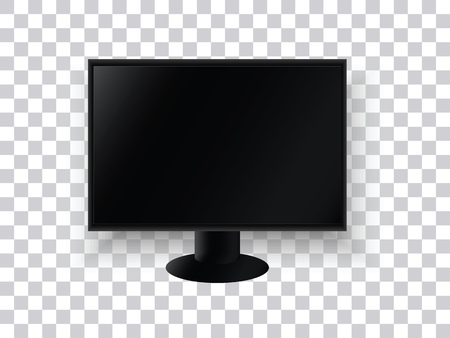 A realistic TV monitor on a transparent background. The television panel. Electronic home appliances. Vector illustration.