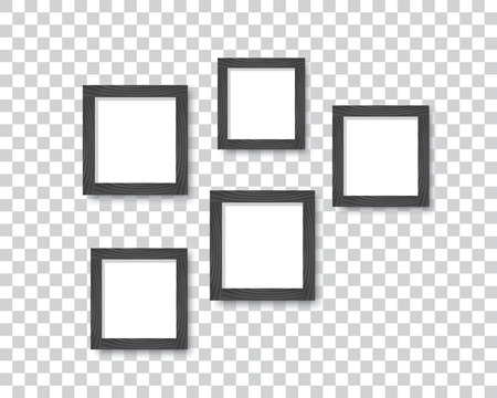 A set of wooden black frames for photos or pictures on the wall with a shadow. Vector illustration. Illustration
