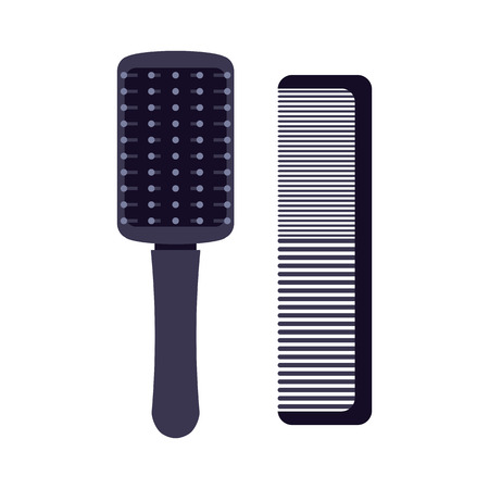 A set of professional combs and massage brushes for hair. Individual items for combing hair. Vector illustration.