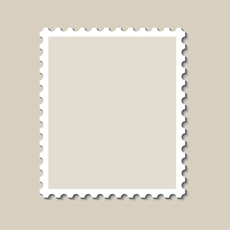 Blank postage stamp template with shadow. Vector illustration. Иллюстрация