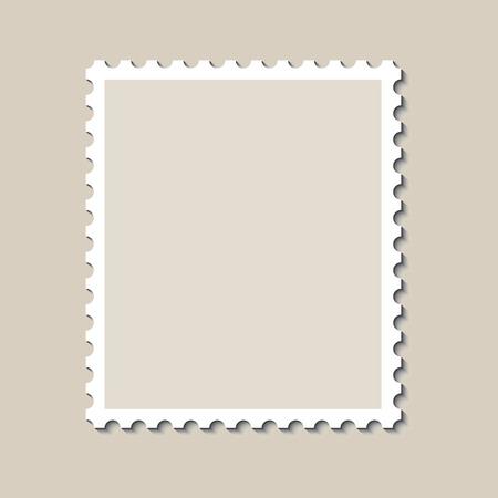 Modèle de timbre-poste vide avec ombre. Illustration vectorielle Vecteurs