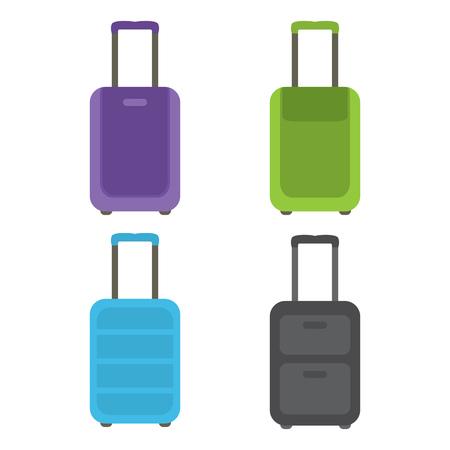 旅行やビジネス旅行のためスーツケースの近代的なセット。ベクトルの図。  イラスト・ベクター素材