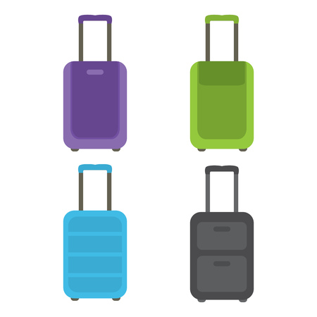A set of modern suitcases for travel and business trips. Vector illustration.
