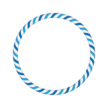 Striped gymnastic hoop. Sports equipment. Vector illustration.
