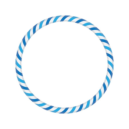 Striped gymnastic hoop. Sports equipment. Vector illustration.