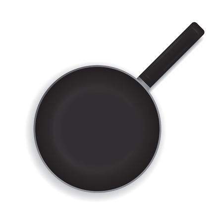 白い背景に現実的なフライパン。黒いフライパン調理用ハンドル。上からの眺め。ベクトルの図。