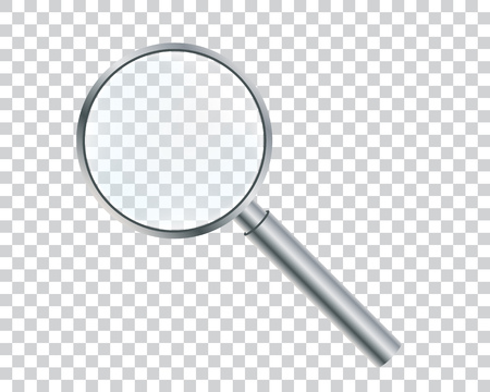 Metal magnifier on a transparent background. Vector illustration. Ilustracja