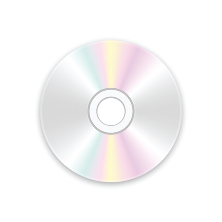 CD disk on a white background. A realistic compact disc. Vector illustration.