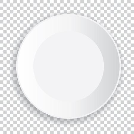 透明な背景に影で現実的な大きな白いプレート。ベクトルの図。