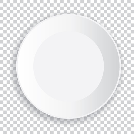 Realistic big white plate with shadow on a transparent background. Vector illustration.