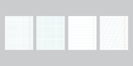 Sheets of school notebooks. Types of school notebooks in a small and large cage and in an oblique stripe. Vector illustration.