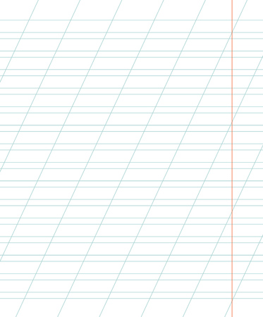 A sheet of school notebook in a ruler with a slanting line. School background. Vector illustration.