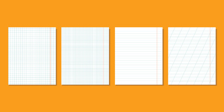 Sheets of school notebooks with a shadow on an orange background. Vector illustration.