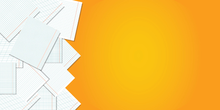Back to school. Orange school background with pages of notebooks and a place for your text. Vector illustration.