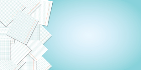Back to school. Blue school background with pages of notebooks and a place for your text. Vector illustration.