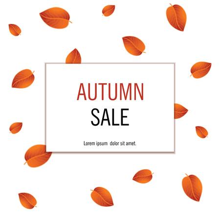 黄色オレンジ色の葉と秋の販売バナー。ベクトルの図。