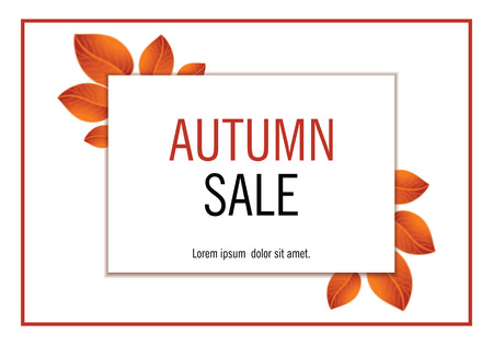 Autumn sales banner with yellow orange leaves. Vector illustration. Illustration