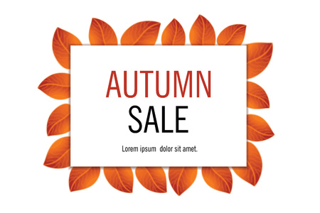Autumn sales banner with yellow orange leaves. Vector illustration. Ilustracja