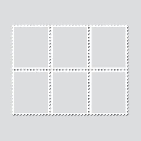 6 切手の切れ目のないビンテージ シート。影と光の背景にスタンプのセットです。ベクトルの図。  イラスト・ベクター素材