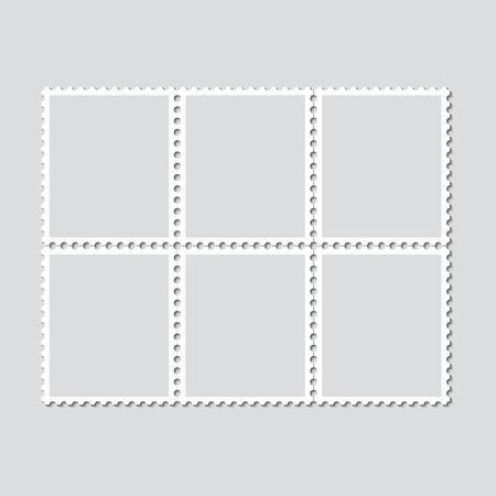 Unbroken vintage sheet of six postage stamps. Set of stamps on a light background with a shadow. Vector illustration.