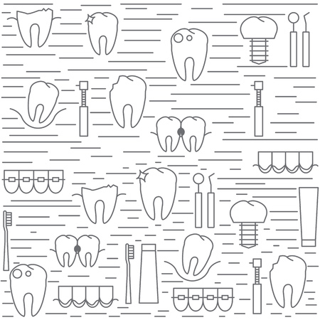 歯科医院のモダンな背景。歯の病気や治療のアイコン。ベクトルの図。