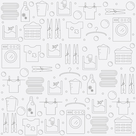 Laundry. Achtergrond met iconenwas. Banner voor uw bedrijf of winkel. Vector illustratie.