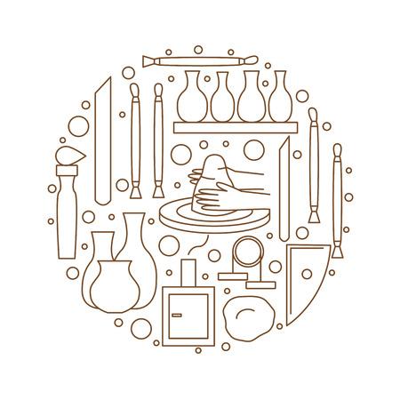 陶器のアイコン。ツールと陶器。古代の工芸品。ベクトル図  イラスト・ベクター素材