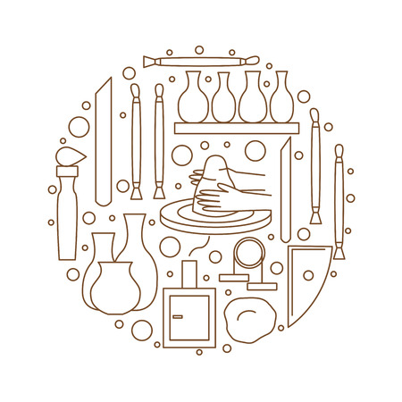Pottery icons. Tools and pottery. The ancient craft. Vector illustration