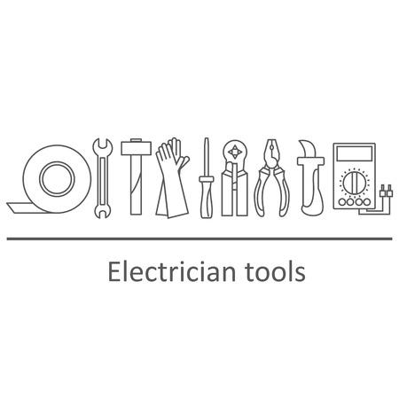 アイコンは、ツール電気技師のセット。ベクトルの図。  イラスト・ベクター素材