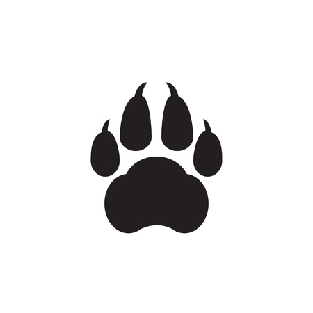 Black print of a dogs paw on a white background. Vector illustration.