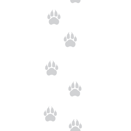 White seamless pattern with animal footprints. Dog tracks on a white background. Vector illustration.