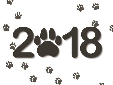 来る新年のシンボルとして犬の前足と碑文 2018 年。白い背景に新年おめでとうございます。ベクトルの図。  イラスト・ベクター素材