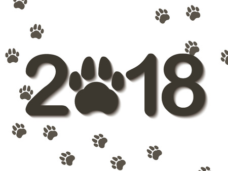 Inscription 2018 with a dogs paw as a symbol of the coming new year. Congratulations on the new year on a white background. Vector illustration. Illustration
