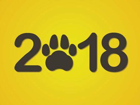 来る新年のシンボルとして犬の前足と碑文 2018 年。黄色の背景に新年おめでとうございます。ベクトルの図。