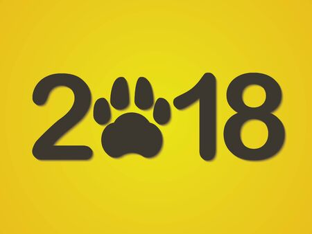 Inscription 2018 with a dogs paw as a symbol of the coming new year. Congratulations on the new year on a yellow background. Vector illustration. Ilustracja