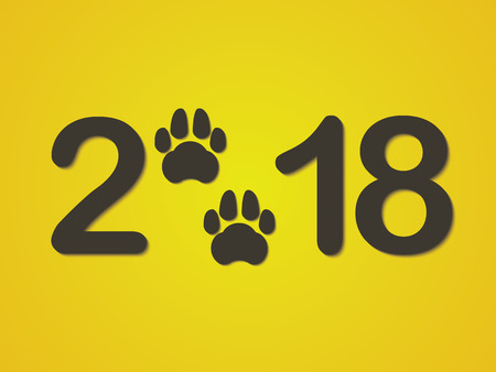 Inscription 2018 with a dogs paw as a symbol of the coming new year. Congratulations on the new year on a yellow background. Vector illustration. Illustration