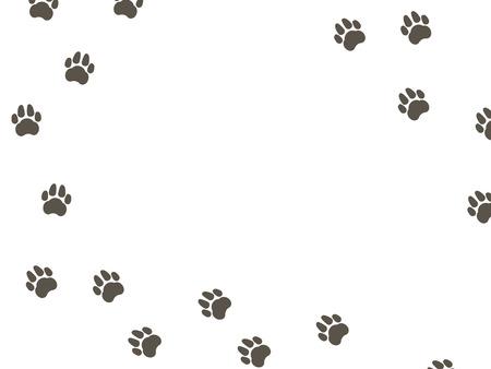 動物の足跡と白の模様。犬は白い背景に追跡します。ベクトルの図。  イラスト・ベクター素材