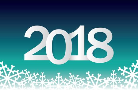 Festive New Year's greetings from 2018 with snowflakes and a gradient background.