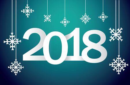 雪の結晶とグラデーションの背景と 2018 年から祭りの新年のご挨拶。