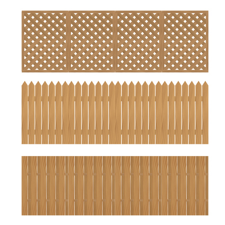 Wooden fence on a white background. Ilustracja